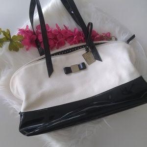 Lulu Guinness Black White Vegan Leather Bag